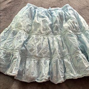 Mini Boden 9-10 eyelet sky blue full skirt EUC
